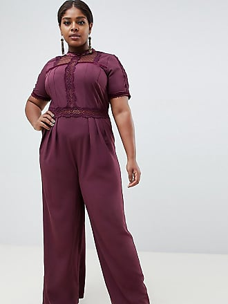 Asos Curve ASOS DESIGN Curve tea jumpsuit with lace inserts-Purple