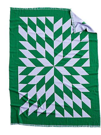 HAY Star Decke 180x130cm - lavendel/grün/doppelt gewebt/Merino Wolle