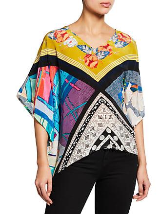 0738ab8a8ac449 Tolani Briyana Asymmetric Printed Silk Tunic