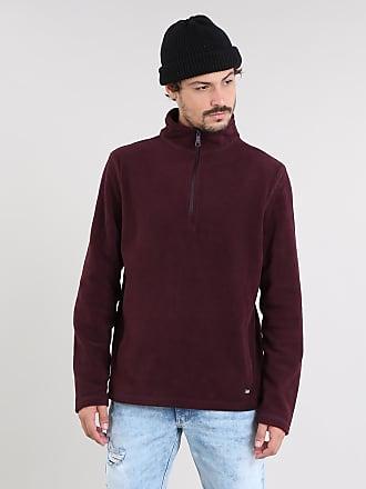 Basics Blusão Masculino Básico em Fleece com Meio Zíper Vinho