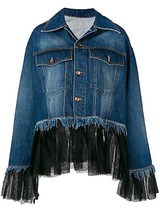 House Of Holland Camisa jeans com recorte de tule - Azul