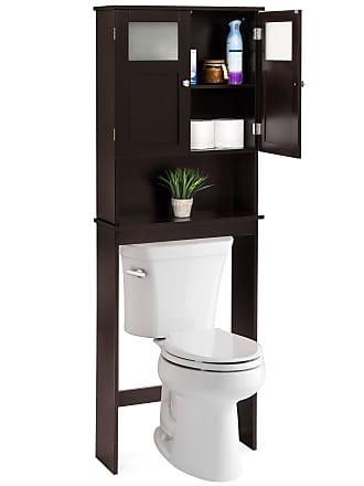 Best Choice Products Bathroom Over-the-Toilet Space Saver Double Door Linen Toiletry Storage Cabinet Tower - Espresso