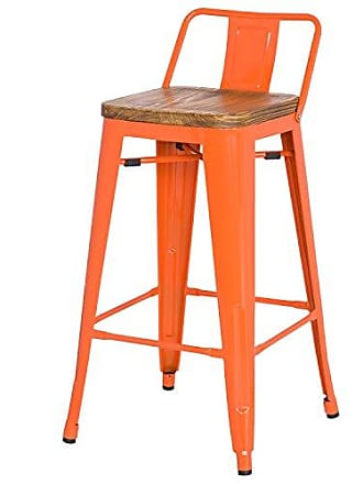 New Pacific Direct Metropolis Metal Low Back Counter Stool 26 Wood Seat,Indoor/Outdoor Ready,Orange,Set of 4