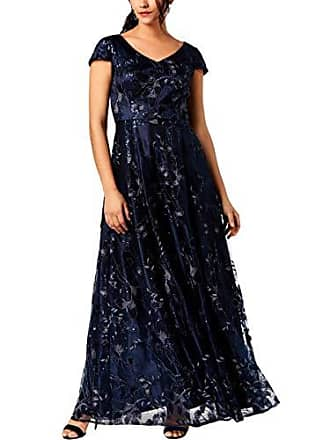 Alex Evenings Womens Long Cap Sleeve Embroidered Ballgown Dress with Sequin, Navy, 12