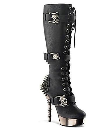 60dc28a8858991 Demonia Muerto-2028 - Gothic Industrial Plateau Stiefel mit Chrome Absatz  Schuhe 35-44