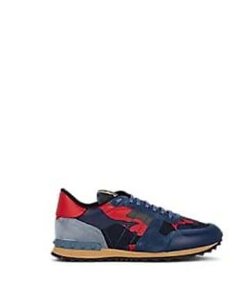 Valentino Mens Rockrunner Leather & Suede Sneakers - Blue Size 12 US