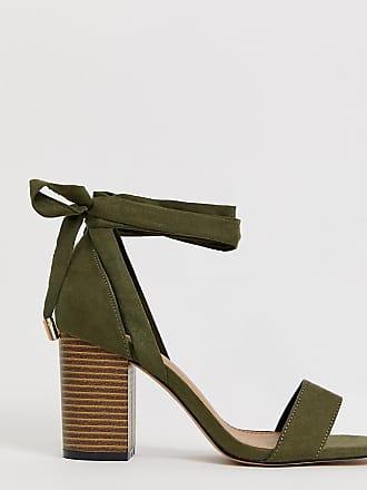 622c361c81d338 Asos Howling - Sandales pointure large à talons et liens sur la jambe -  Kaki -