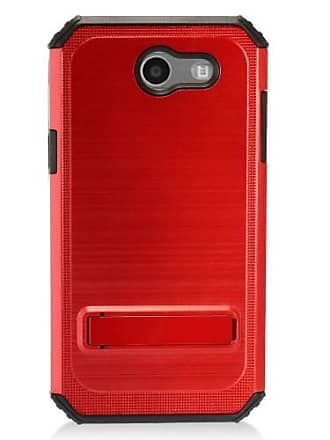 Mundaze Red Brushed Metal Kickstand Case For Samsung Galaxy J3 Emerge 2017/Express Prime 2