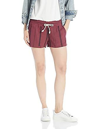 526e804061 Roxy Juniors Oceanside Yarn Dyed Beach Short, Oxblood red Tea Party Stripe,  M