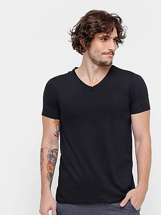KOHMAR Camiseta Básica Masculina Gola V 100% Algodão kohmar- Preto
