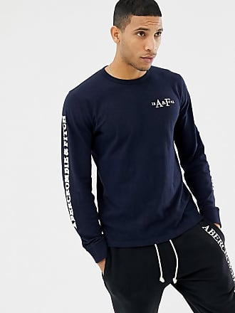1f3fd7ef60 Abercrombie   Fitch sleeve logo long sleeve top in navy