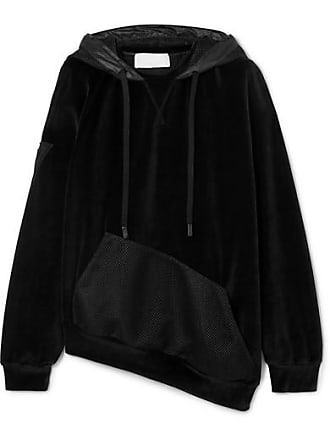 No Ka'Oi Epaki Asymmetric Mesh And Cotton-blend Velour Hoodie - Black