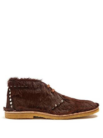 f3b378a6110e Prada Stud Embellished Calf Hair Desert Boots - Mens - Brown