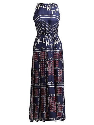 9cf372a727ee Valentino Chevron And Puzzle Print Silk Gown - Womens - Blue Print