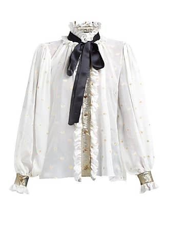 da519ee8 Dolce & Gabbana Pussy Bow Fil Coupé Silk Blend Chiffon Blouse - Womens -  White Multi