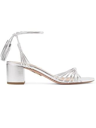 Aquazzura Mescal 50 Metallic Leather Sandals - Silver