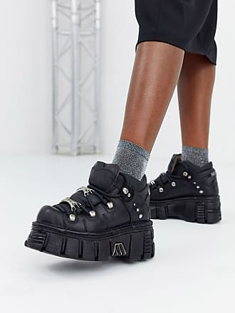 New Rock chunky leather lace up trainers in black