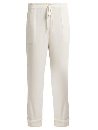 d7b074404 Raquel Allegra Frayed Edge Straight Leg Crepe Trousers - Womens - White