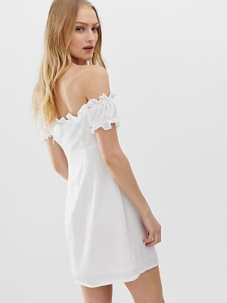 36a5279553 Glamorous bardot mini dress with tie front - White