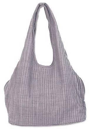 Novica Cotton shoulder bag, Thai Texture in Grey