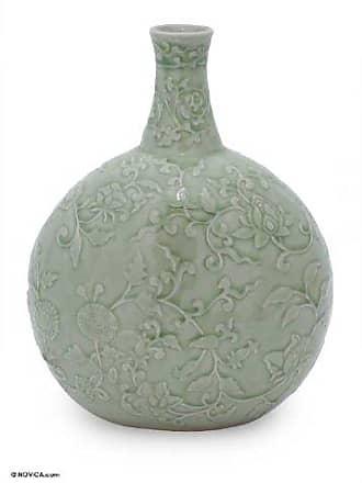 Novica 162969 Exotic Flora Celadon Ceramic Vase
