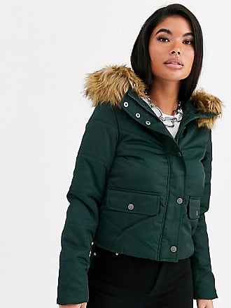 Noisy May Mona quilted parka coat-Green