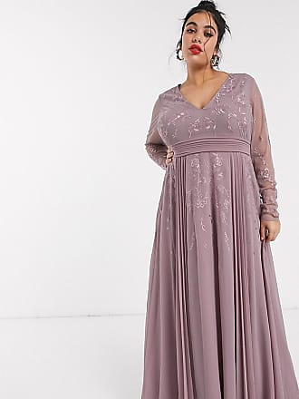Asos Curve ASOS DESIGN Curve embroidered pleated mesh detail maxi dress-Purple