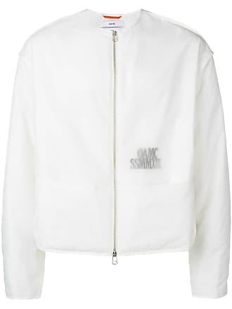 OAMC collarless translucent logo jacket - White