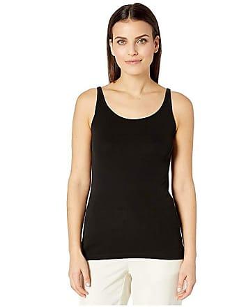 5e4b53447ac Eileen Fisher Petite Stretch Silk Jersey Scoop Neck Long Slim Cami (Black) Womens  Sleeveless