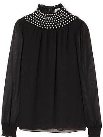 Michael Kors Michael Michael Kors Woman Crystal-embellished Georgette Top Black Size XXS