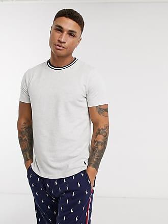 Polo Ralph Lauren T-shirt grigia con bordo a contrasto sul collo-Grigio