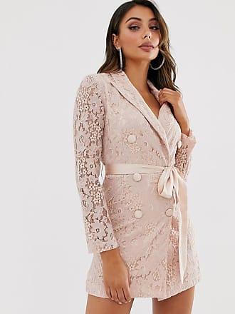Love Triangle Kanten blazerjurk met lintdetail in taupe-Roze
