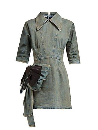 c6091407f46 Miu Miu Bow Trim Denim Mini Dress - Womens - Denim