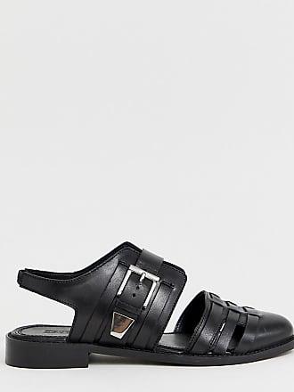 b690ffa374c69 Asos Minister - Chaussures plates pointure large en cuir à découpes - Noir