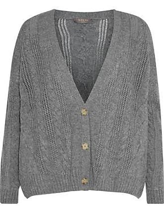 N.Peal N.peal Woman Cable-knit Cashmere Cardigan Gray Size XL