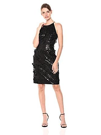 db0560edc62d8 Eliza J Womens Halter Sequin Dress with Floating Flower Detail, Black, 12