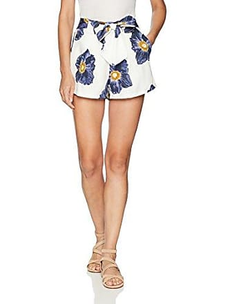 J.O.A. JOA Womens High Paper Bag Shorts with Waist Tie, White/Navy, S