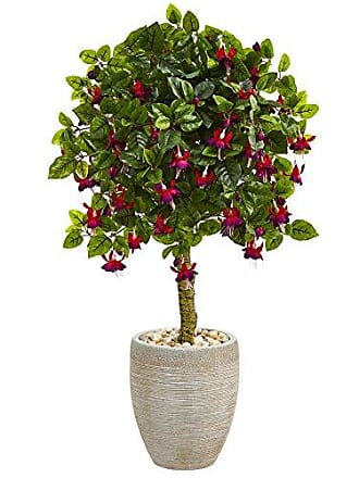 Nearly Natural 3 Fuchsia in Sand Colored Oval Planter Green