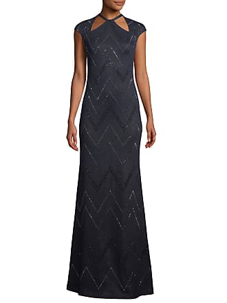 St John Halter Neck Cap Sleeve Mod Zigzag Metallic Knit Evening Gown W