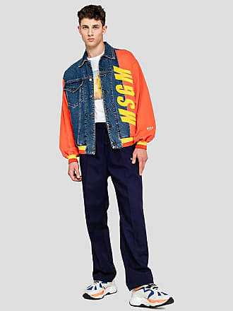 Msgm bomber in denim with branded patch