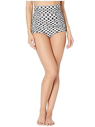 835e8af7035 Unique Vintage Monroe High-Waist Swim Bottoms (Black White Gingham) Womens  Swimwear