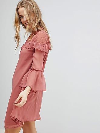Influence Chiffon Frill Detail Dress - Pink