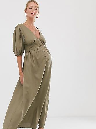 Asos Maternity ASOS DESIGN Maternity button through linen maxi dress with cross back-Green