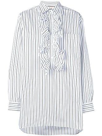 Plan C Camisa com listras e babados - Branco