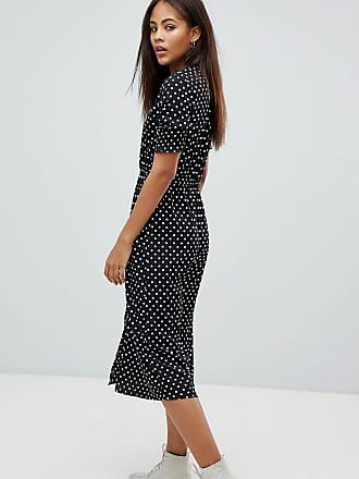 04635536b903 Influence Tall Shirred Sleeve Polka Dot Midi Dress - Black