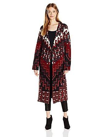 Mara Hoffman Womens Rug Knit Sweater Coat, Burgundy X-Small