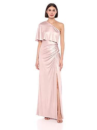 Adrianna Papell Womens Metallic Draped Gown, Dusted Petal, 4