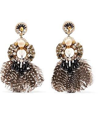 Ranjana Khan Carambola Gold-tone, Feather, Mother-of-pearl And Crystal Clip Earrings - Black
