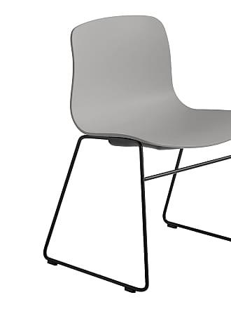 HAY About a Chair AAC 08 Stuhl Gestell schwarz - betongrau/Sitzschale Polypropylen/Gestell Stahl schwarz/mit Kunststoffgleitern