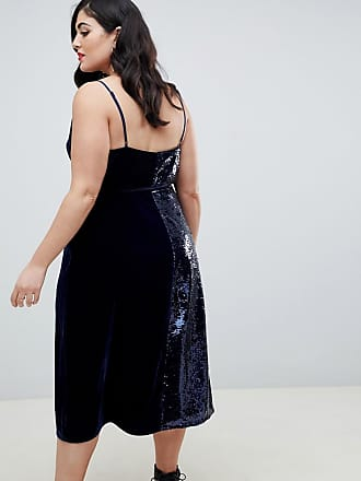 f7a6e62c71 Asos Curve ASOS DESIGN Curve sequin and velvet cami wrap midi dress - Multi